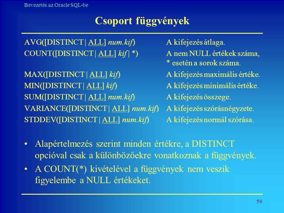 Csoport függvények AVG([DISTINCT | ALL] num.kif) A kifejezés átlaga.
